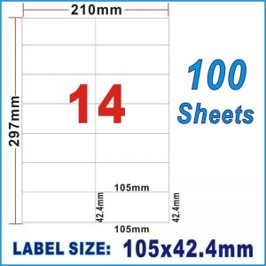 100pcs 14UP A4 Peel & Paste Office Mailing Address Sticker Labels Self Adhesive