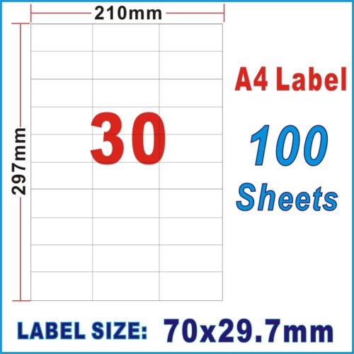 100pcs 30UP A4 Peel & Paste Office Mailing Address Sticker Labels Self Adhesive