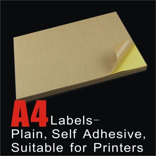 100pcs A4 Brown Kraft Sticker Paper Sheet Label