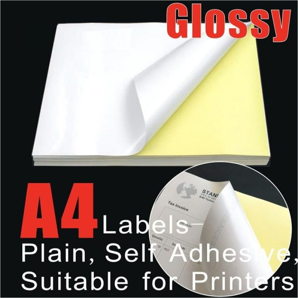 100pcs A4 White Glossy Self Adhesive Address Labels
