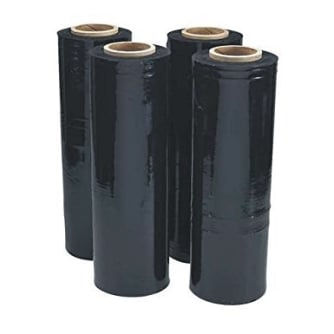 4 Rolls of 500mm x 400m Black Hand Stretch Pallet Wrap Film