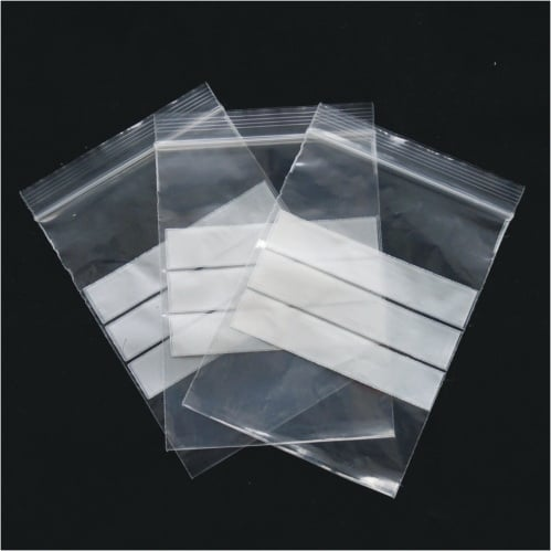 500pcs 75mm x 100mm Resealable Ziplock Plastic Bags With Panel