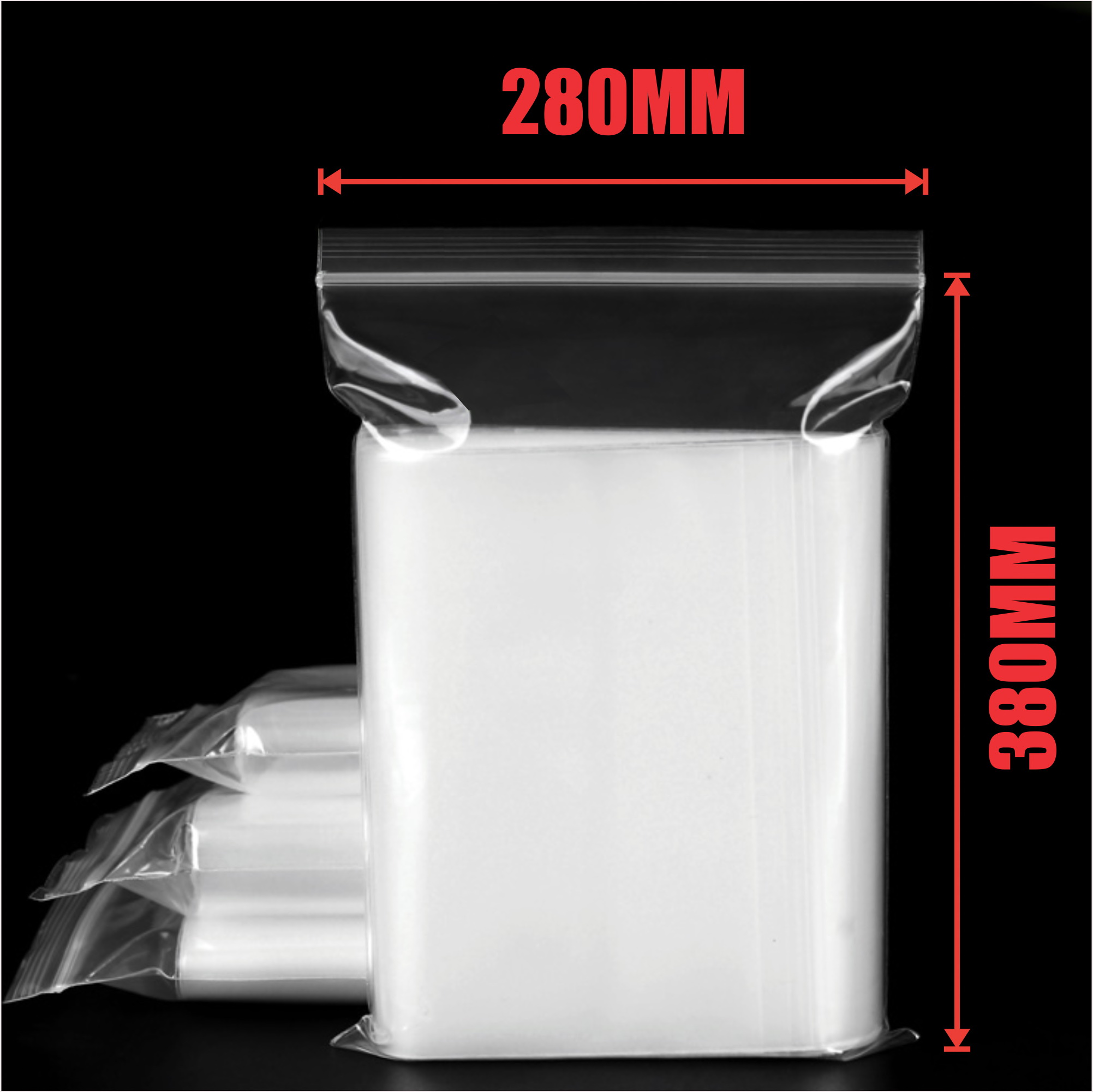 1000pcs 280x380mm Resealable Ziplock Plastic Bags