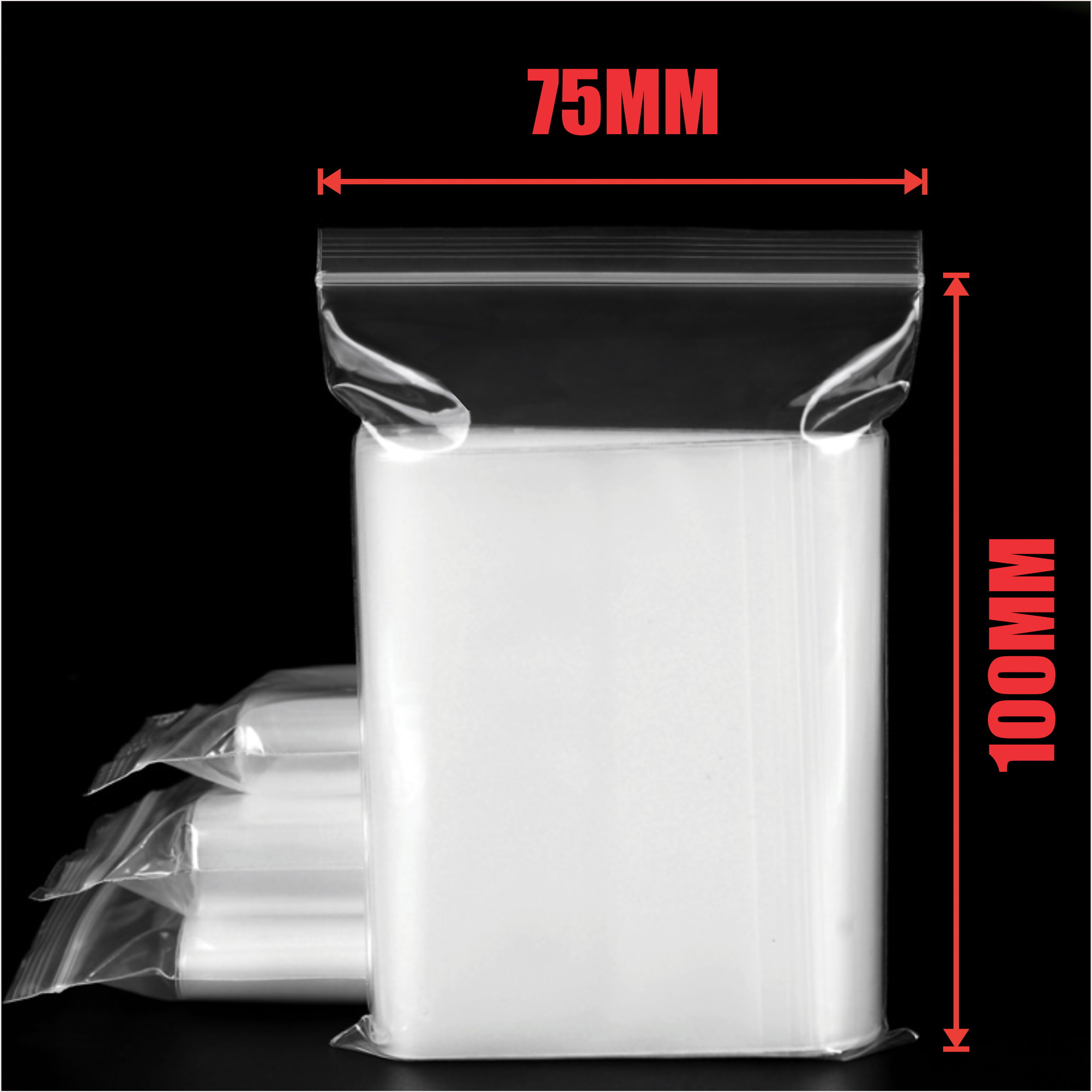 1000pcs 75x100mm Resealable Ziplock Plastic Bags
