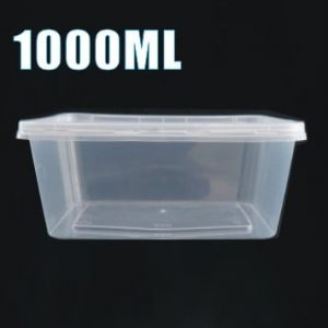 100pcs 1000ml Plastic Takeaway Food Container Set(50 Containers + 50 Lids)