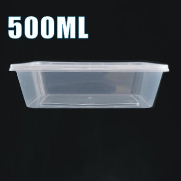 100pcs 500ml Plastic Takeaway Food Container Set(50 Containers + 50 Lids)