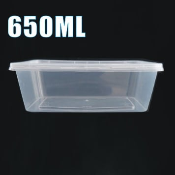100pcs 650ml Plastic Takeaway Food Container Set(50 Containers + 50 Lids)