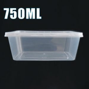 100pcs 750ml Plastic Takeaway Food Container Set(50 Containers + 50 Lids)
