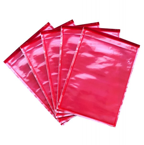1000pcs 115mm x 165mm Invoice Enclosed Sticker Pouch Plain Red Backing