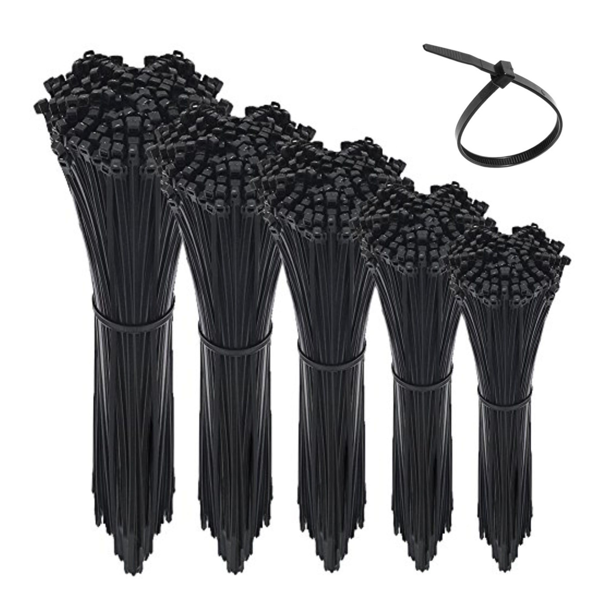 200pcs Cable Zip Ties 4.8mm x 200mm Black Nylon UV Stabilised