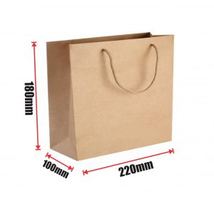 300pcs Kraft Paper Shopping Carry Bag 220×180+100mm