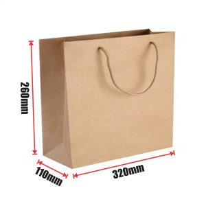 150pcs Kraft Paper Shopping Carry Bag 320×260+110mm