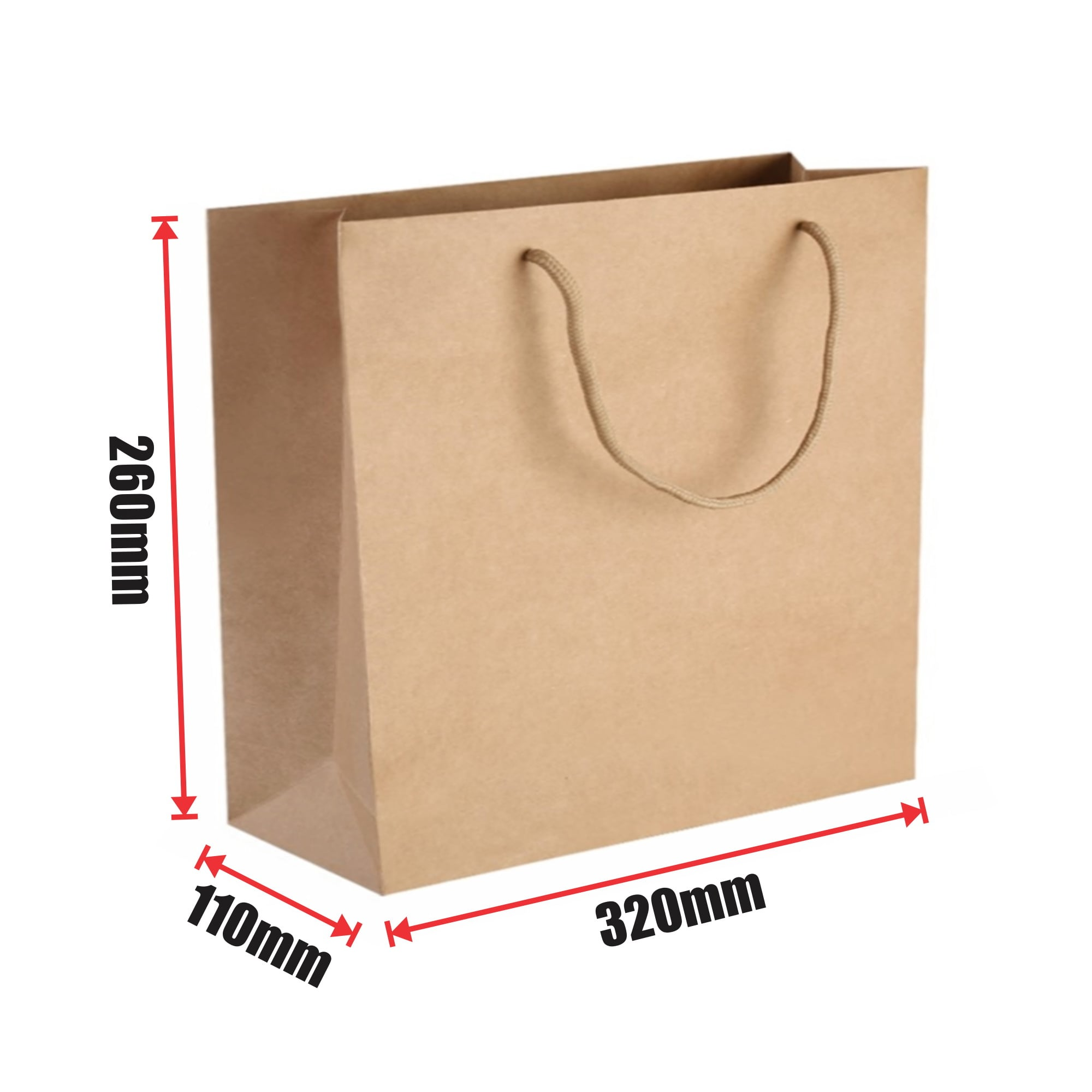 150pcs Kraft Paper Shopping Carry Bag 320x260+110mm
