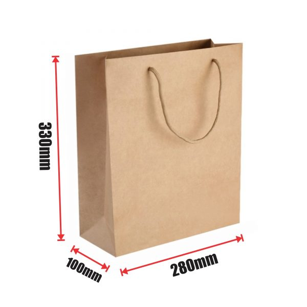 150pcs Kraft Paper Shopping Carry Bag 280×330+100mm