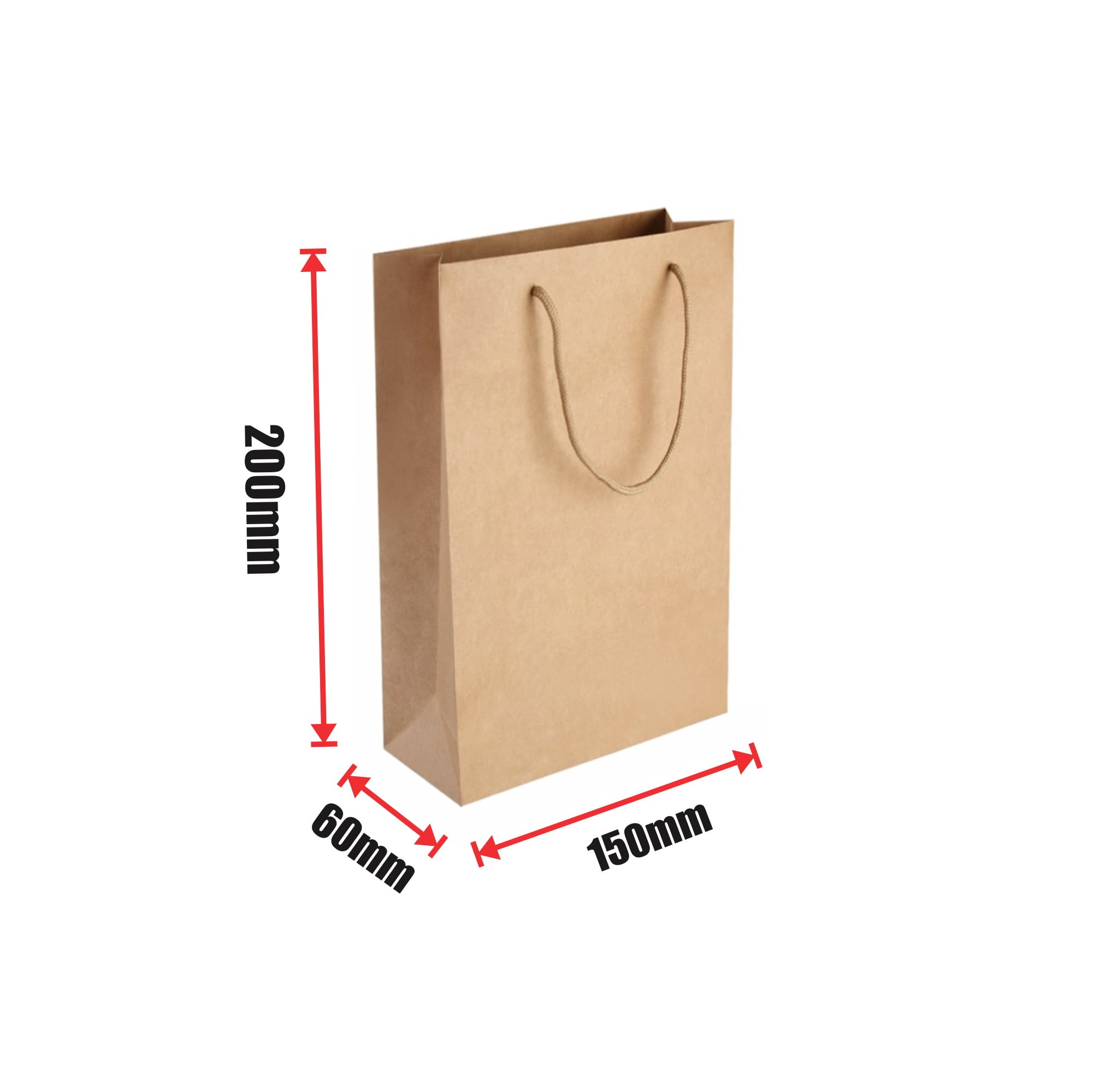 450pcs Kraft Paper Shopping Carry Bag 150×200+60mm