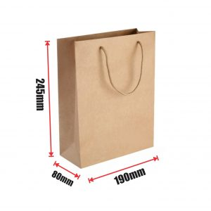 250pcs Kraft Paper Shopping Carry Bag 190×245+80mm