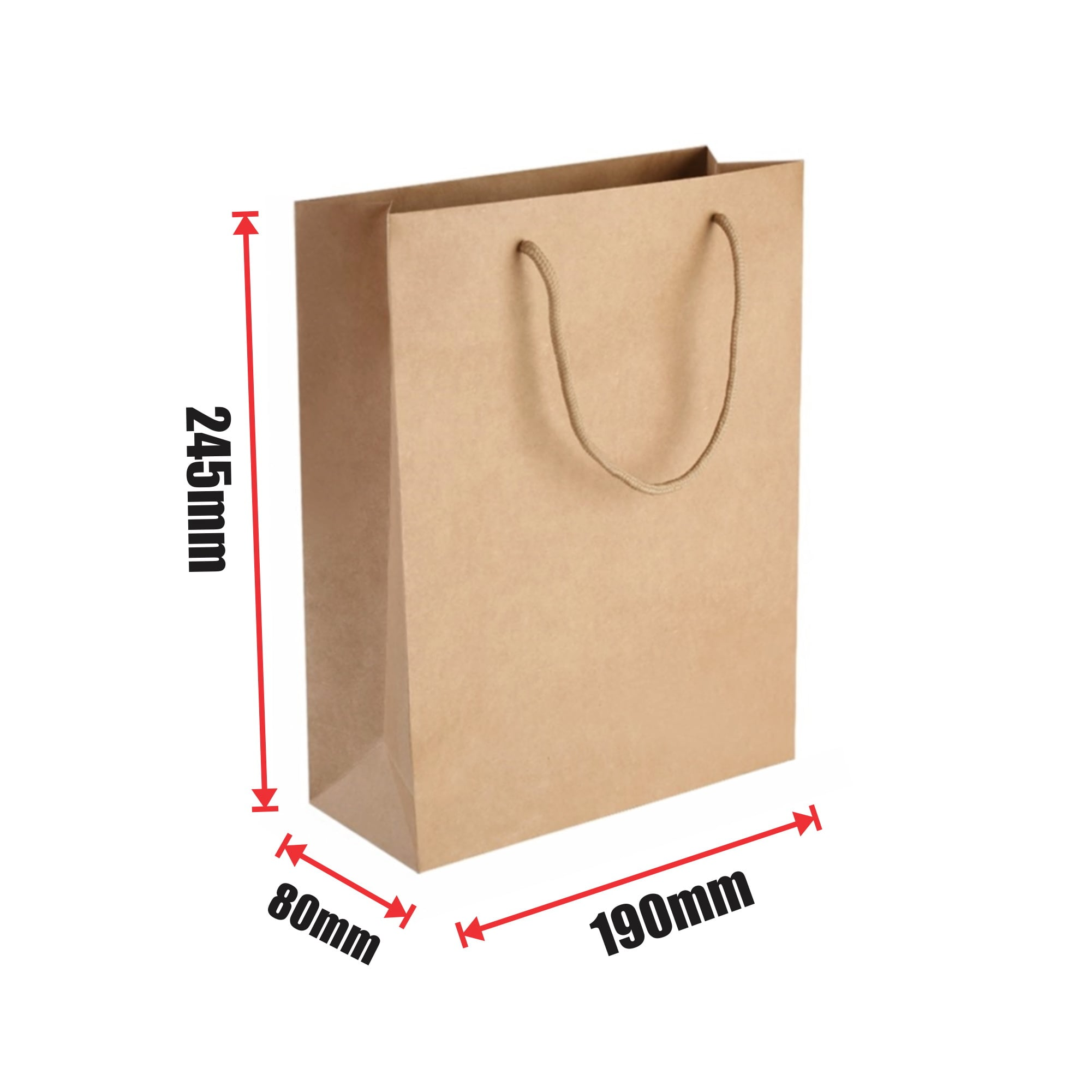 250pcs Kraft Paper Shopping Carry Bag 190×245+80mm