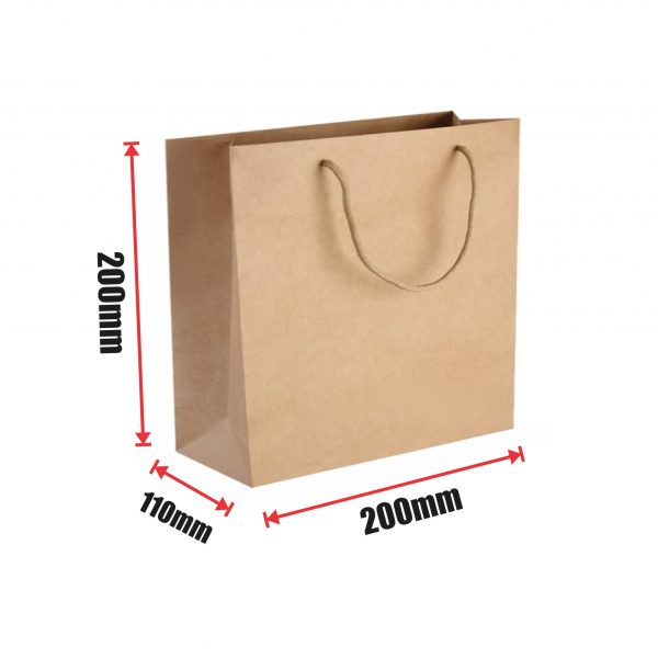 300pcs Kraft Paper Shopping Carry Bag 200×200+110mm