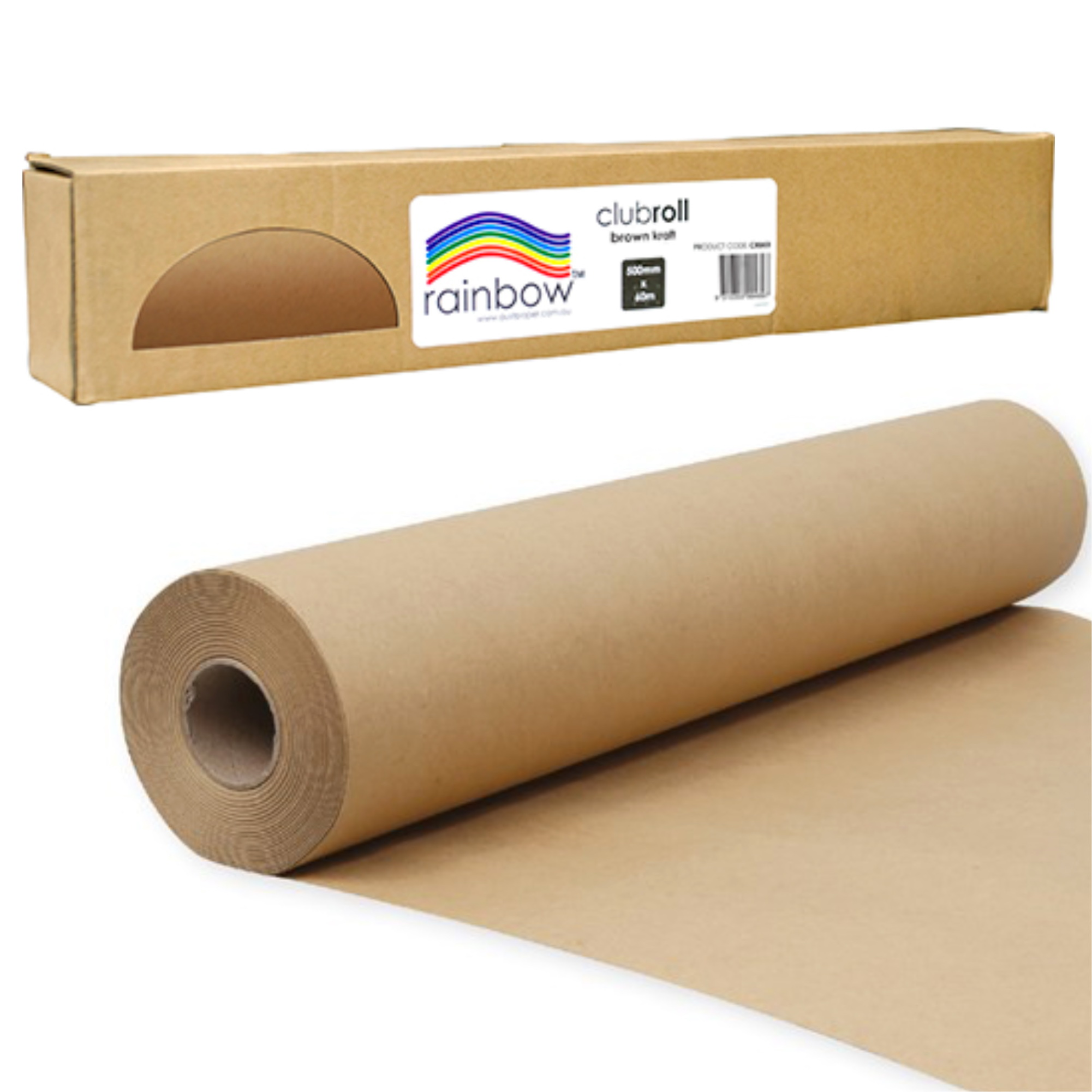 BROWN KRAFT PAPER 70GSM 500MM X 60M in a Dispenser Carton